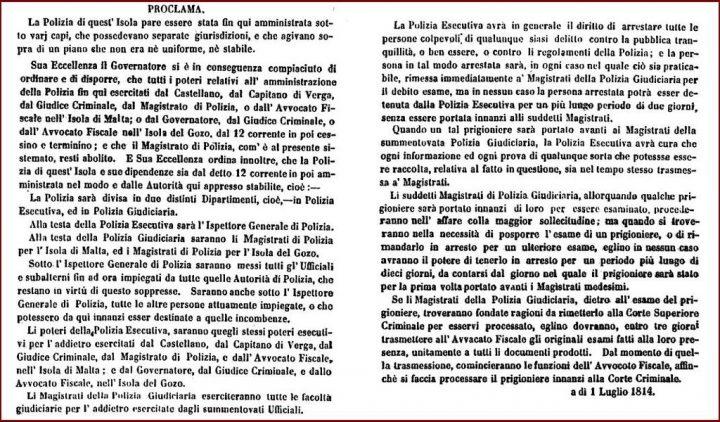 Atto di proclamazione della Polizia di Malta del Governatore britannico, in lingua italiana.