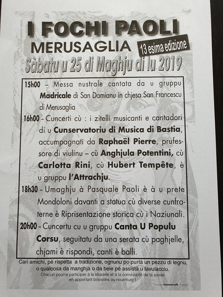Il 25 maggio a Morosaglia la 13^ edizione dei Fochi Paoli