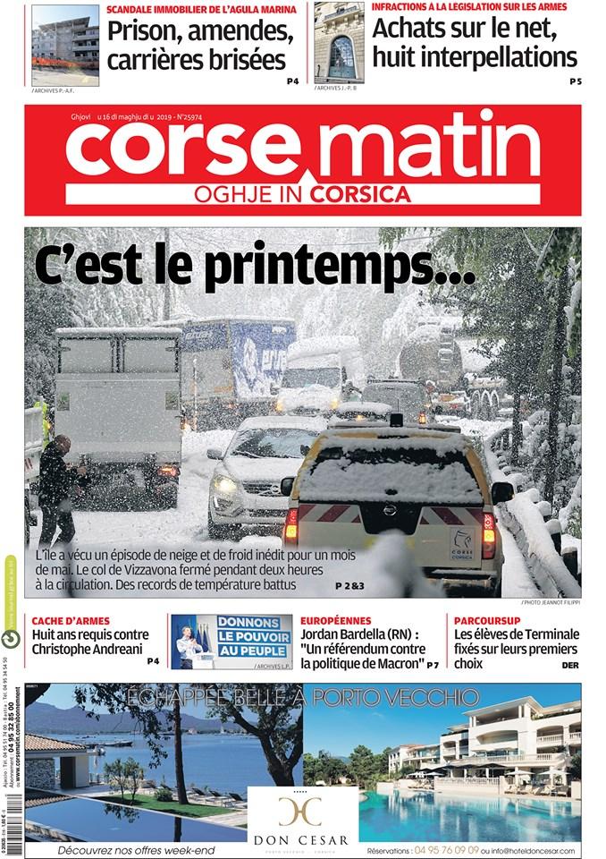 Le immagini della Corsica sotto la neve di metà maggio