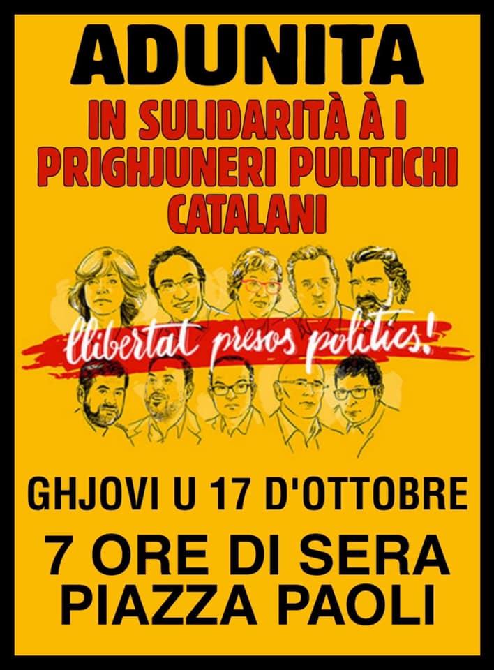 Oggi manifestazione a Corte in sostegno dei 12 leader indipendentisti catalani